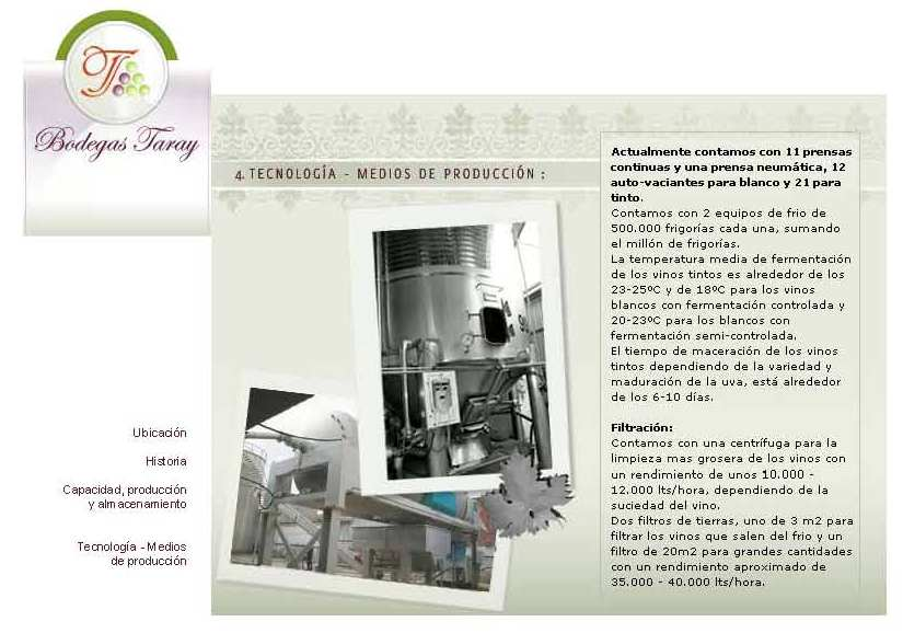Web Bodegas Taray